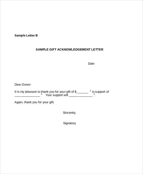 gift acknowledgement letter