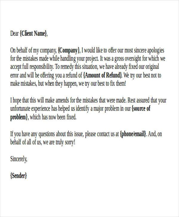 32+ Formal Apology Letters | Sample Templates