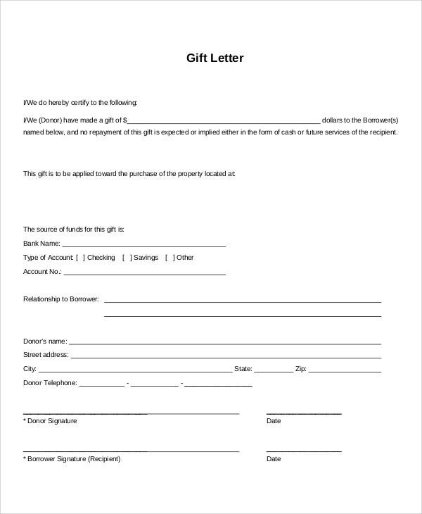 Sample Gift Letters   Examples In Pdf Word