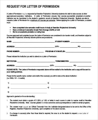 request for permission letter