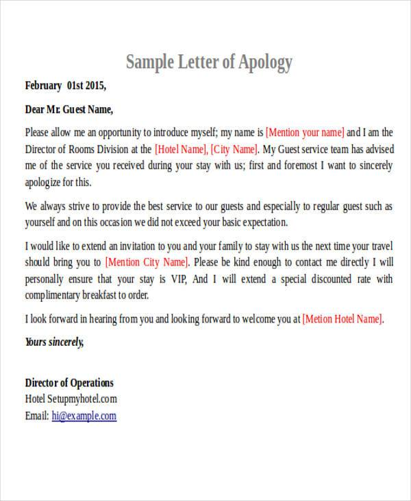 Hotel Customer Apology Letter  Apology Letter Formal
