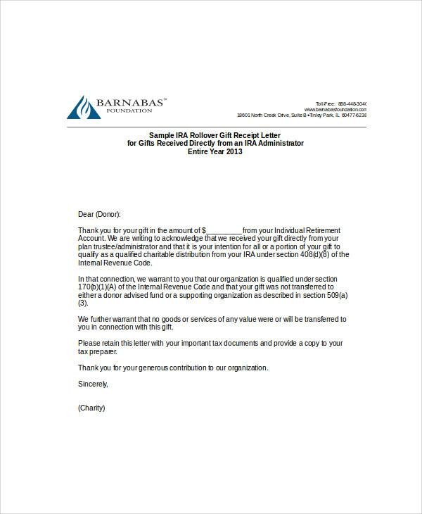 charitable donation gift letter