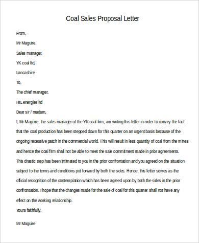 coal sales proposal letter