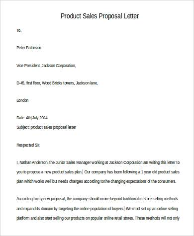 product sales proposal letter