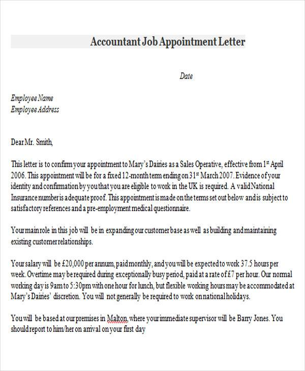 accountant job appointment letter1