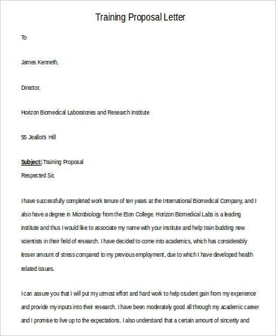 Training Proposal Letter Example  Example Of A Proposal Letter