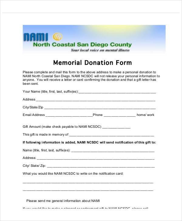 memorial donation gift letter