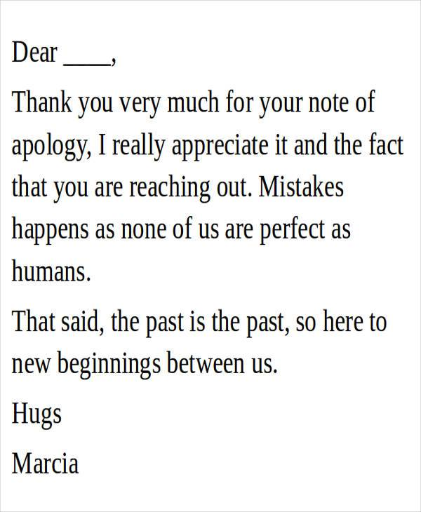 acceptance of apology letter sample
