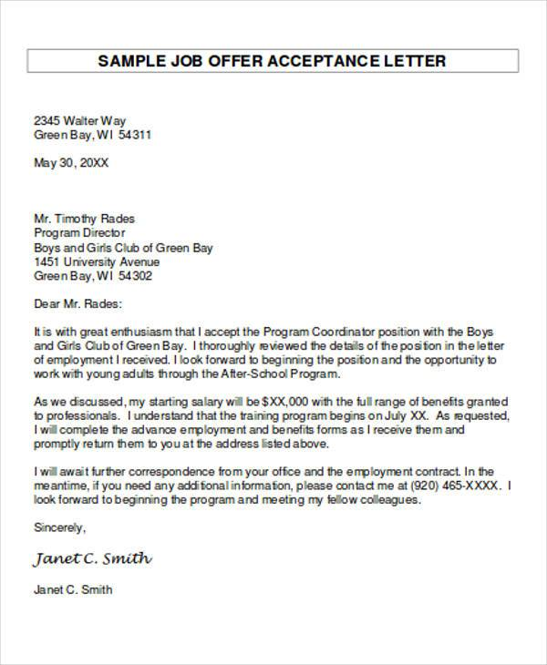 academic job offer acceptance letter