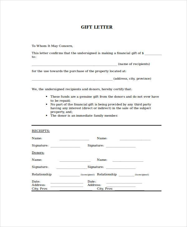 free 45  sample gift letter templates in pdf