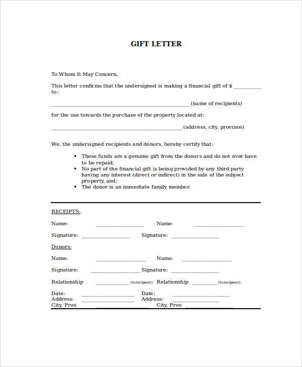 gift money letter format