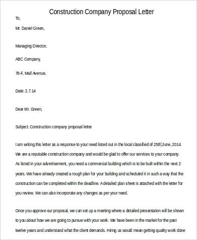 construction company proposal letter