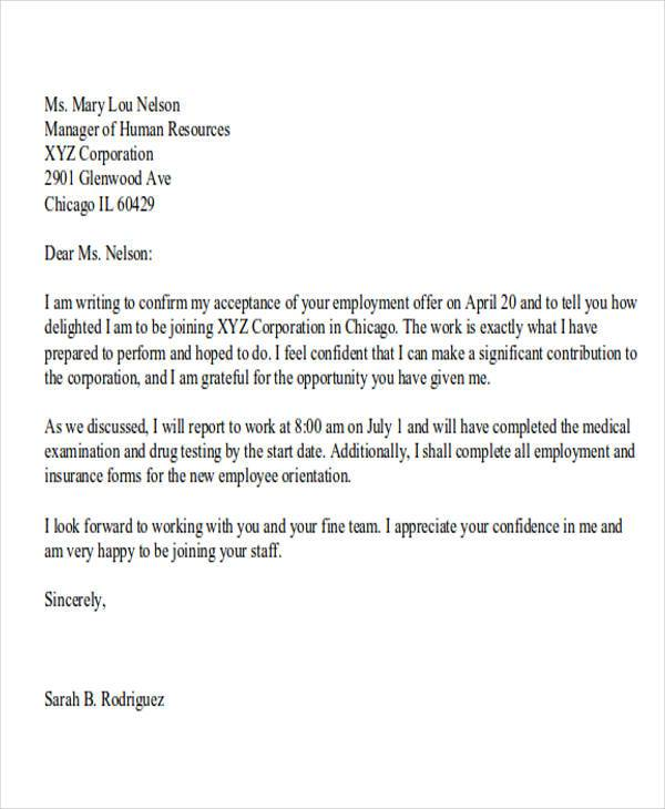 sample insurance acceptance letter  15  Job Acceptance Letters | Sample Templates