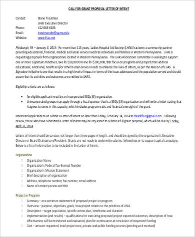 grant proposal letter of intent