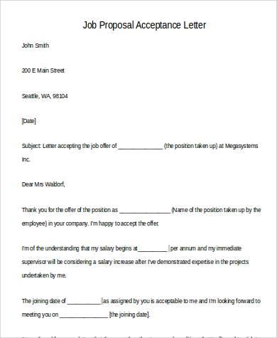 job proposal acceptance letter