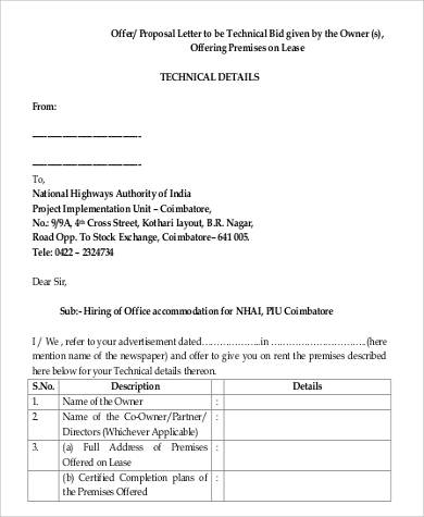 offer proposal letter example