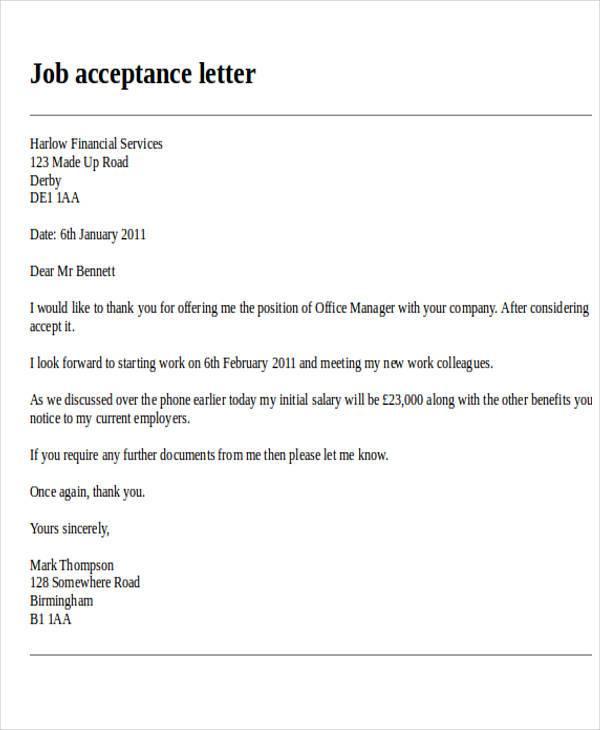 job acceptance formal letter