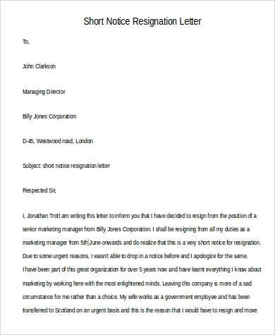 short notice resignation letter2