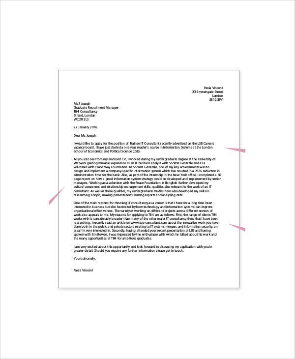 application for a job formal letter