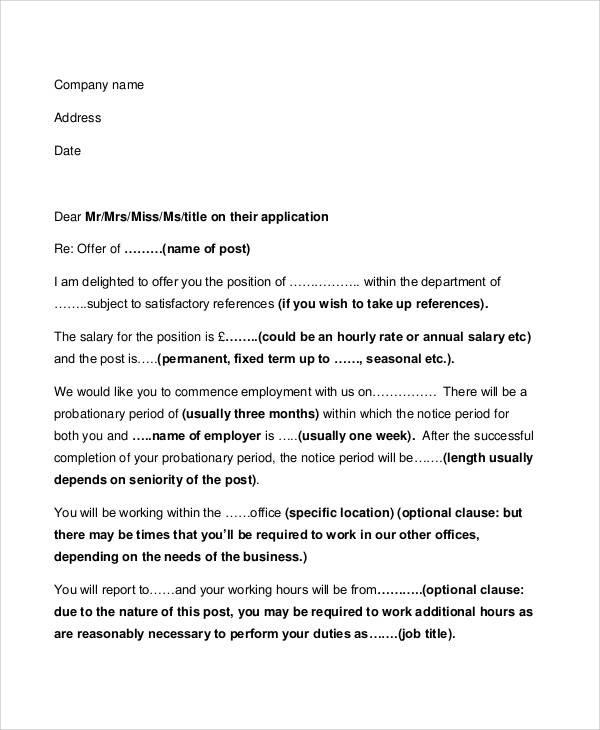 job offer letter examples