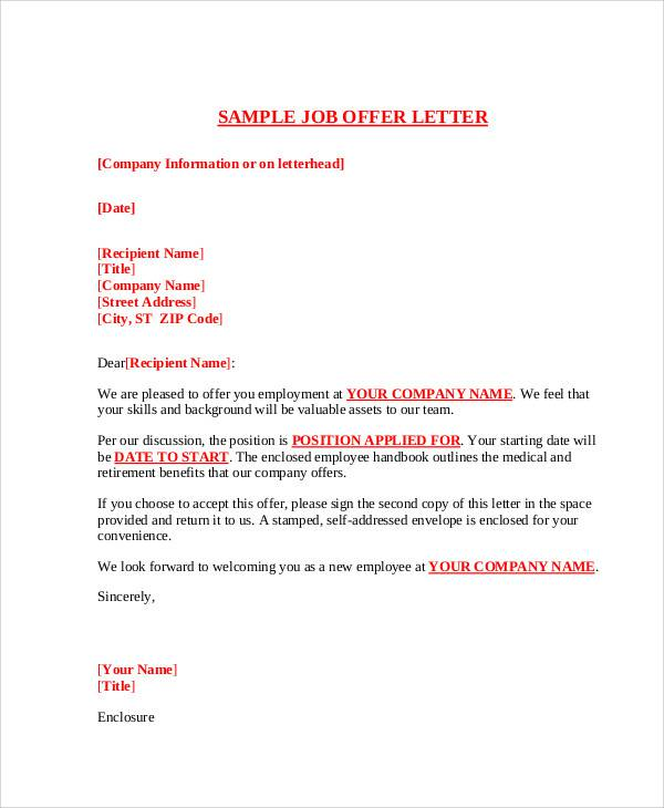 48 job letter examples sample templates appointment letter for job offer altavistaventures Choice Image