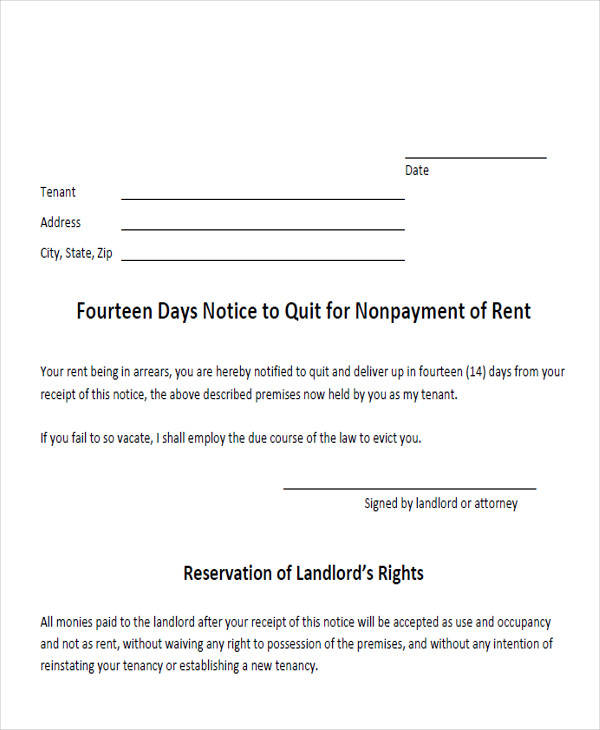 14 day notice to quit form