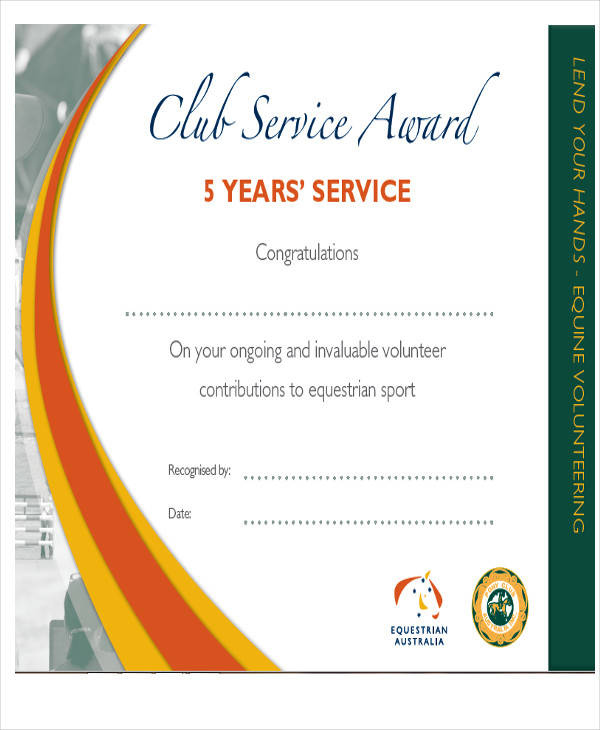 Years Of Service Certificate Template Mandegarfo