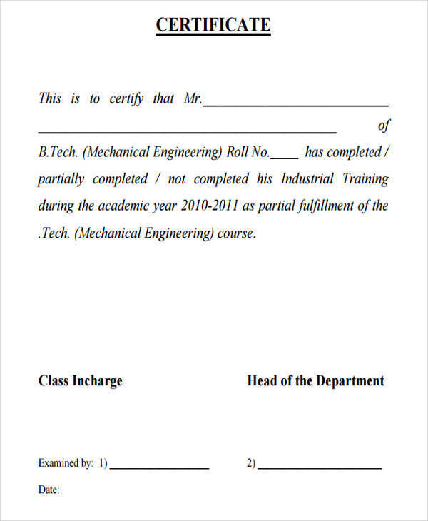 19 free training certificates 6 months industrial training certificate yelopaper Gallery