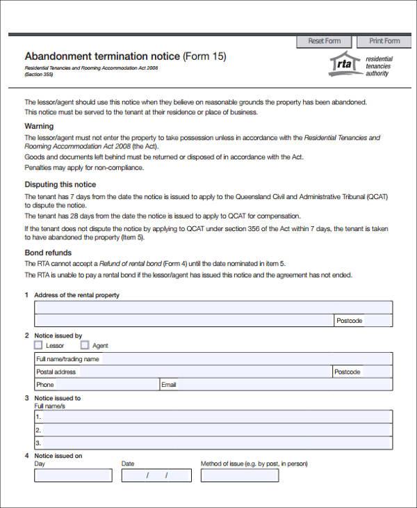 abandonment termination notice form