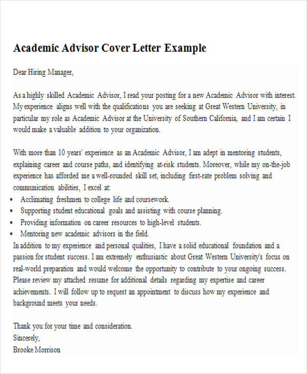 6 sample academic advisor cover letter free sample example - Academic Cover Letter