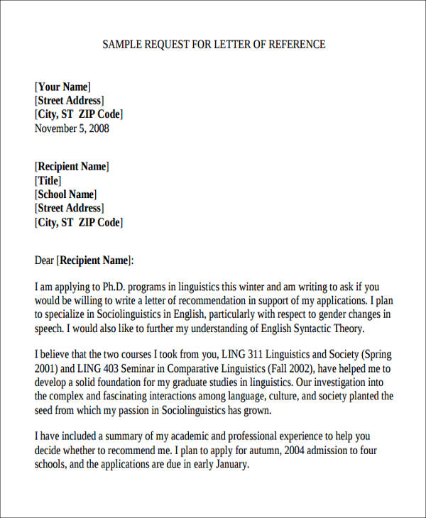 request for letter of recommendation 5 sample academic reference letters sample templates 27549