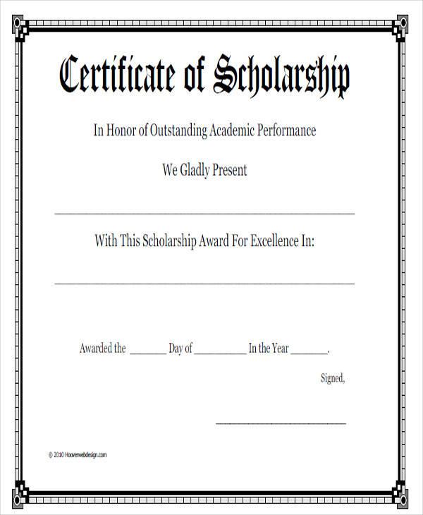 academic scholarship award certificate5