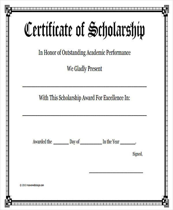 academic scholarship award certificate6