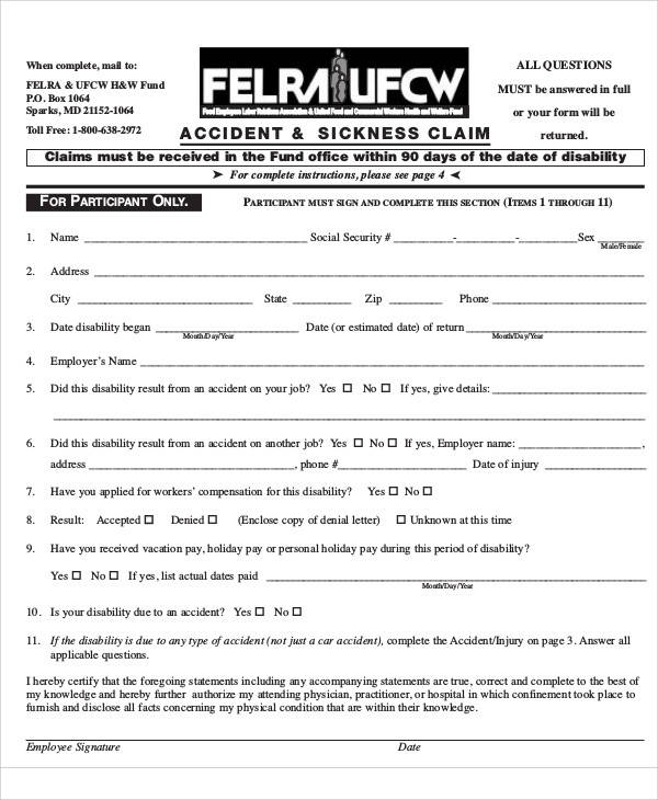Free Claim Forms