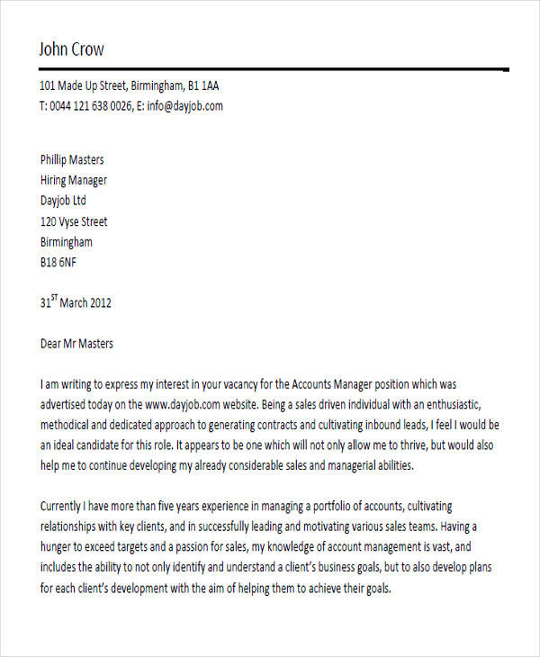 account manager cover letter sample - Manager Cover Letter Sample