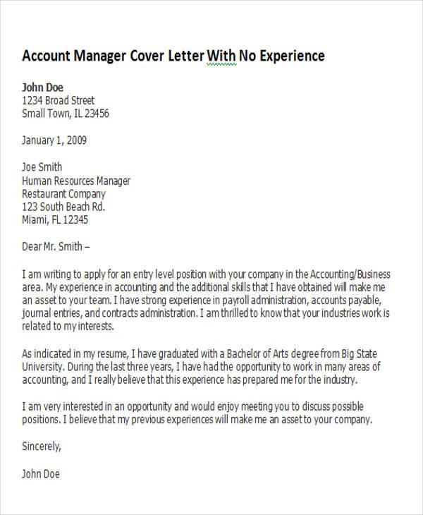 8 account manager cover letters sample templates for Cover letter supervisor position no experience