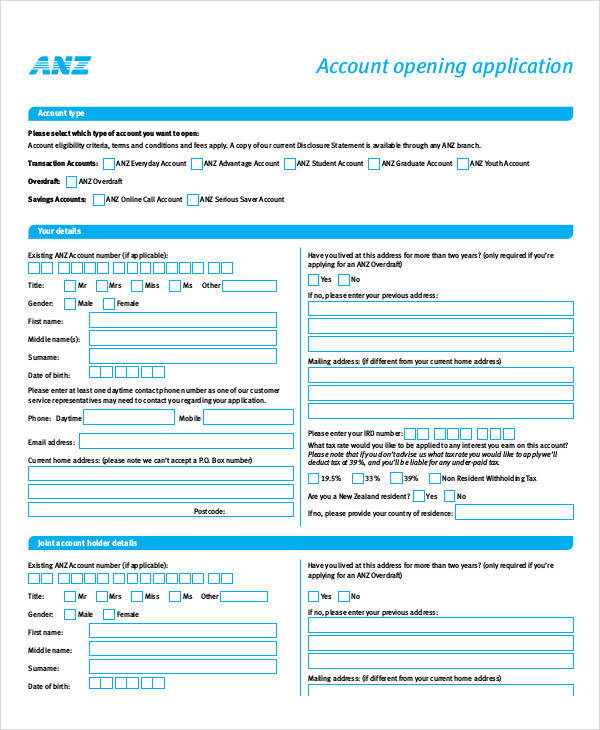 account opening application form1