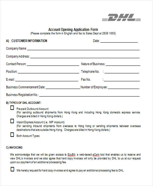 account opening application form3