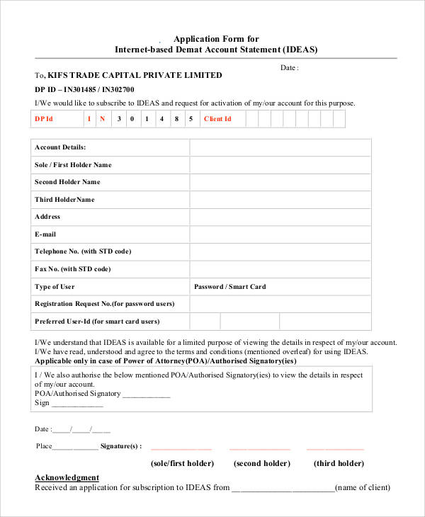 account statement application form
