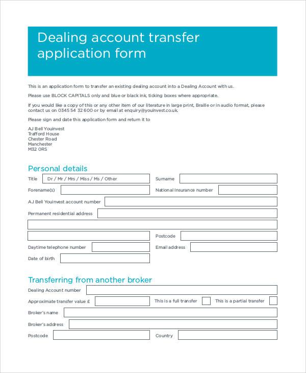 account transfer application form1
