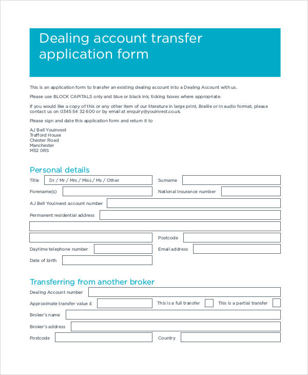 account transfer application form2
