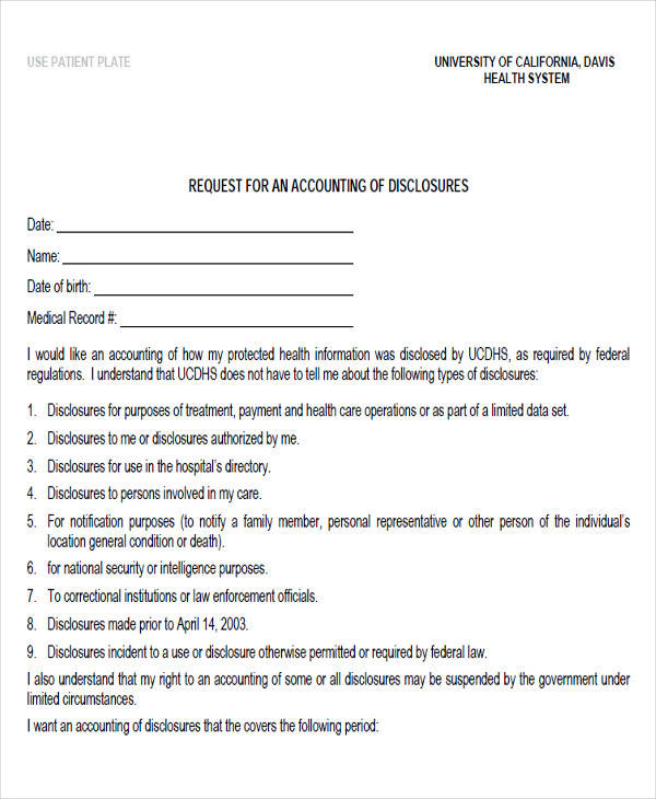 accounting of disclosure request form