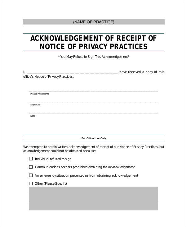 acknowledgement of receipt of private notice form