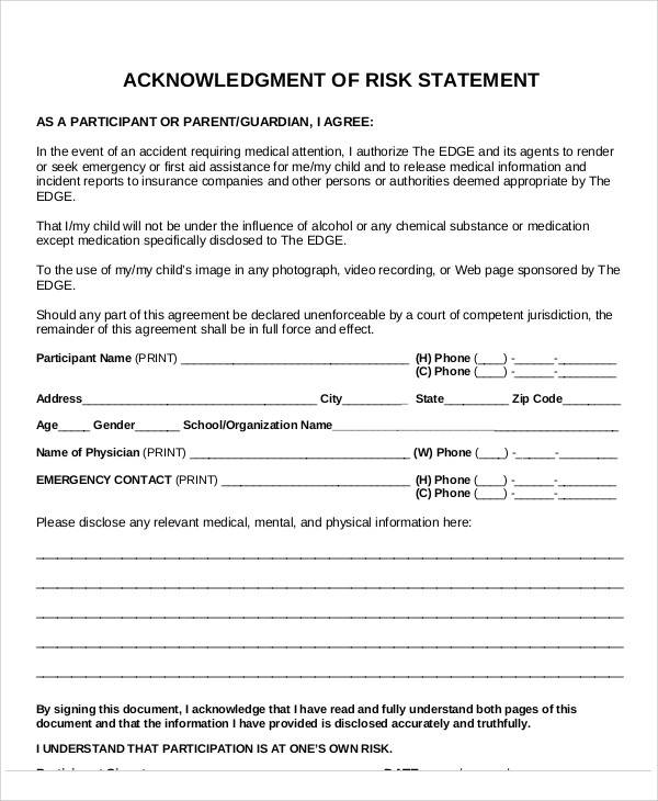 acknowledgment risk statement form