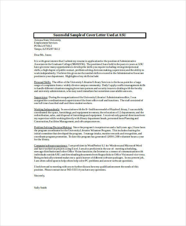 Marvelous Asu Sample Cover Letter. Administrative ...