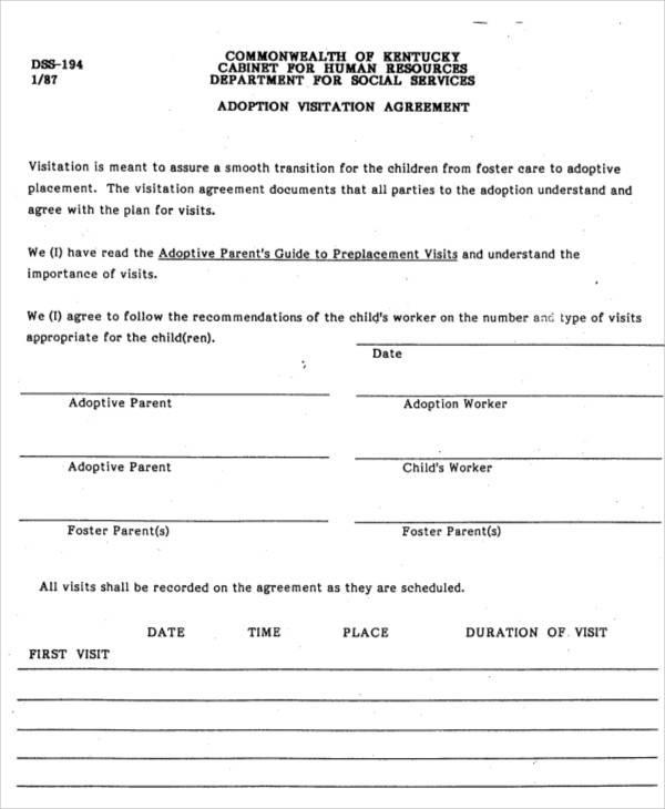 adoption visitation agreement