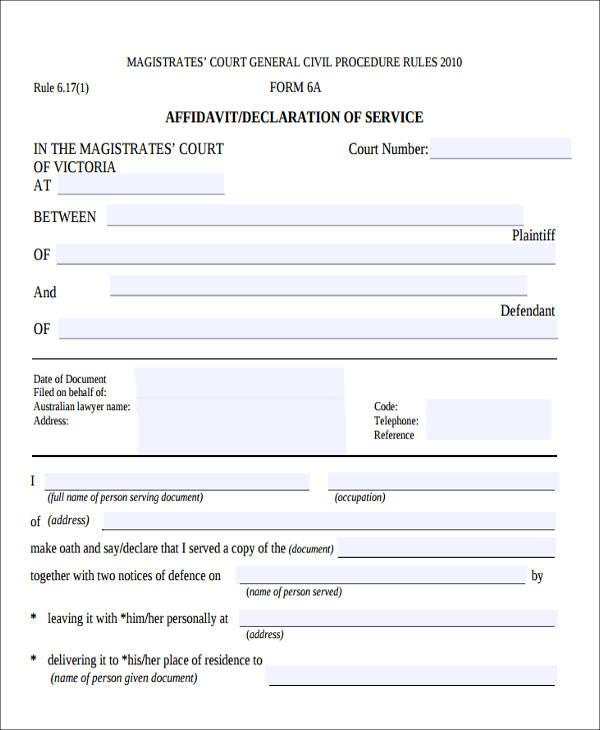affidavit service form example