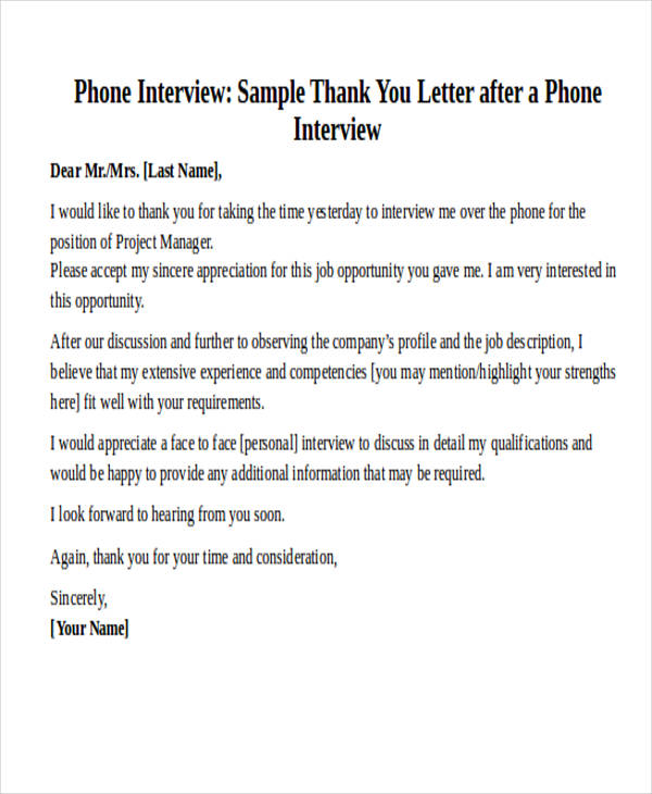 Formal Thank You Letter After A Phone Interview