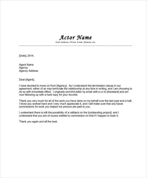 agency agreement letter format