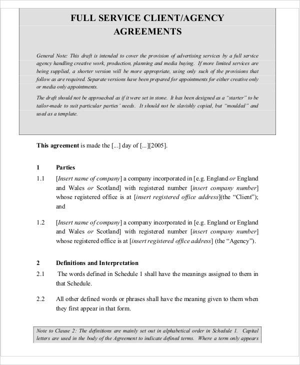 agency contract agreement letter